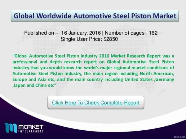 Key Factors for Global Automotive Steel Piston Automotive Steel Piston new project SWOT analysis