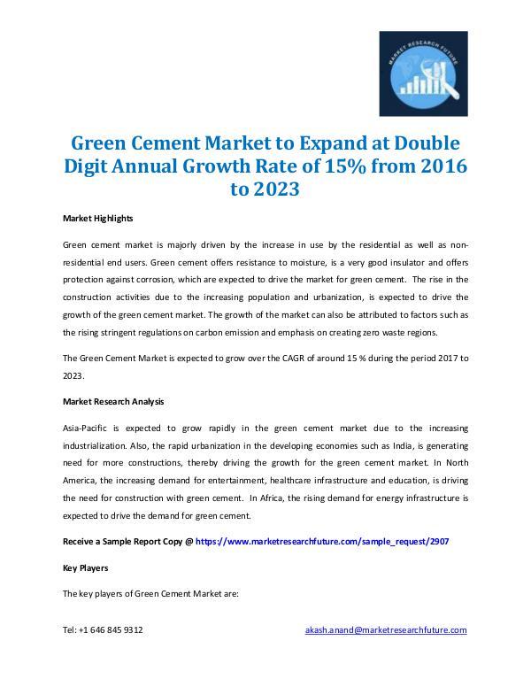 Green Cement Market Analysis 2016 to 2023