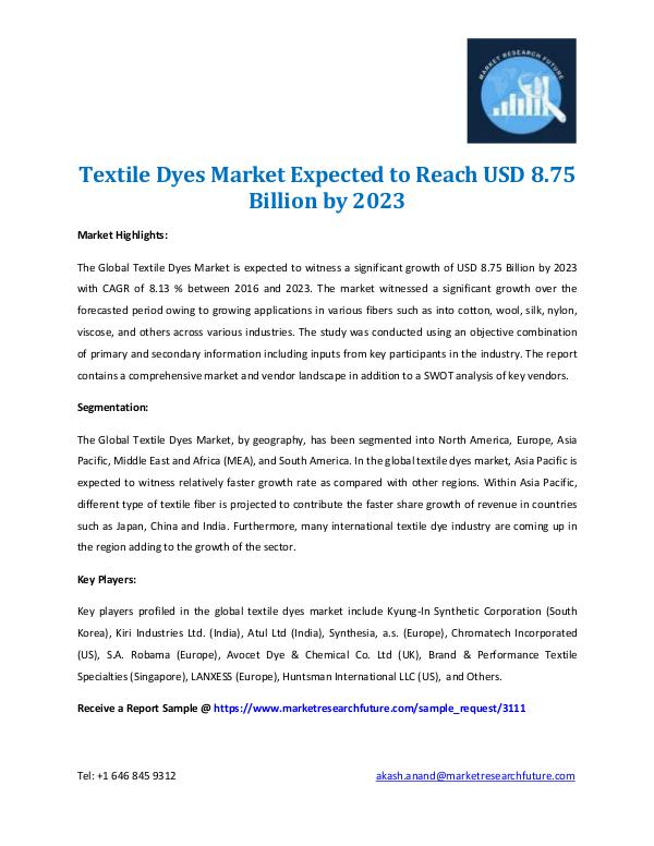 Textile Dyes Market Expected 2016-2023