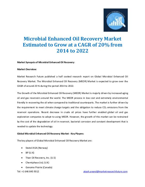 Microbial Enhanced Oil Recovery Market 2014-2022