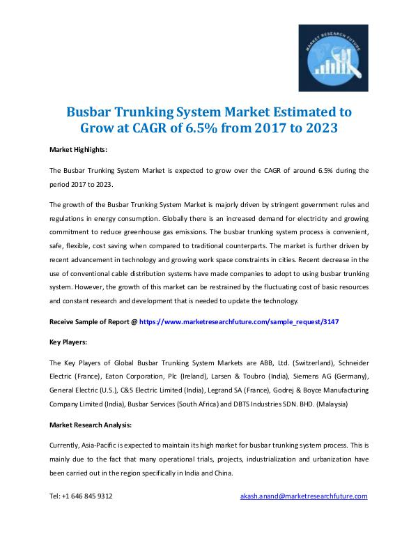 Market Research Future - Premium Research Reports Busbar Trunking System Market 2017-2023