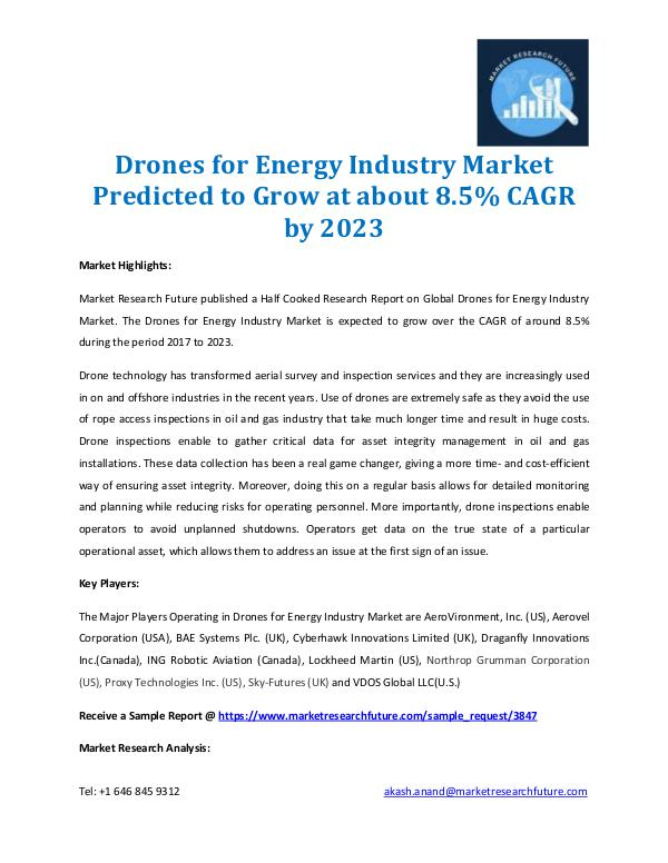 Drones for Energy Industry Market 2017-2023