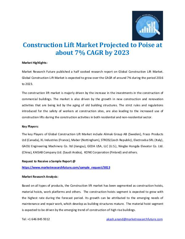 Market Research Future - Premium Research Reports Construction Lift Market 2017-2023