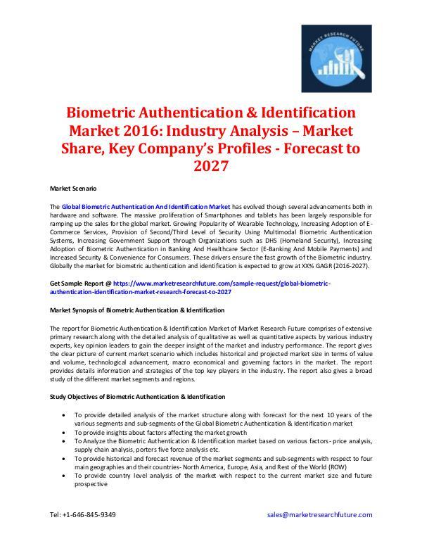 Biometric Authentication & Identification Market 2016-2027 Biometric Authentication & Identification Market