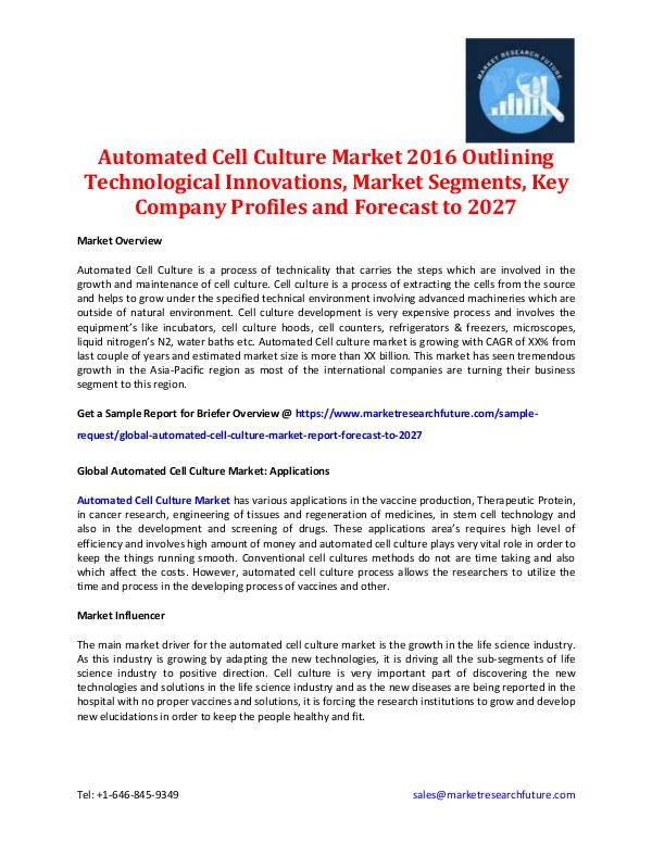 Automated Cell Culture Market - Forecast to 2027