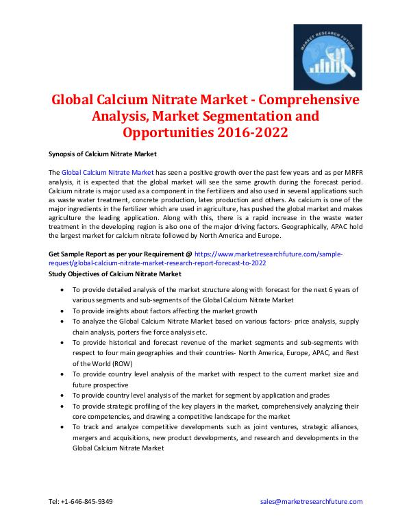 Global Calcium Nitrate Market Information 2016-202