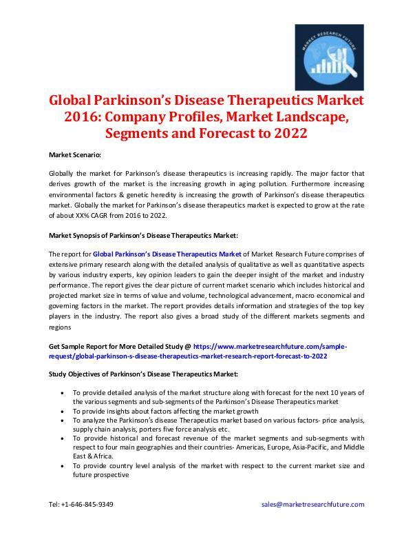 Parkinson's Disease Therapeutics Market  - 2022