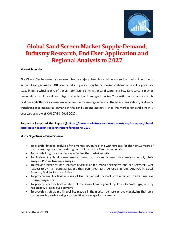 Sand Screen Market -Trends & Forecast to 2027