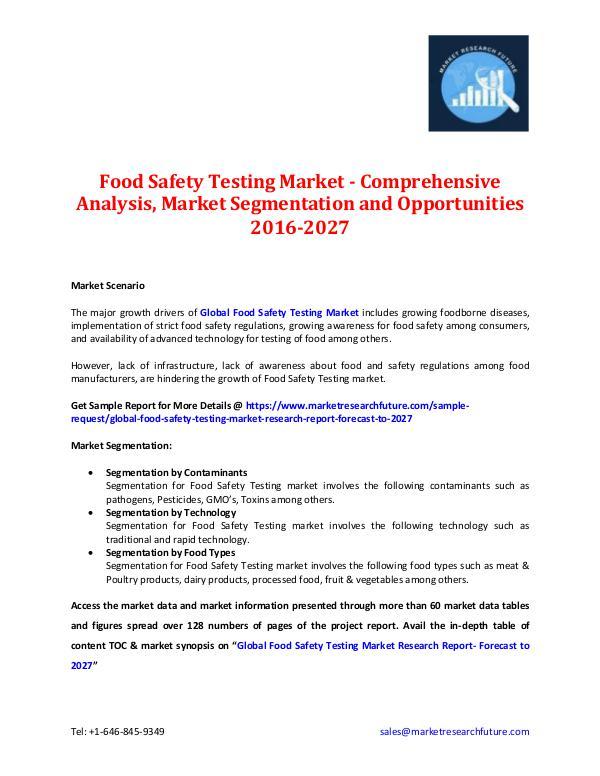 Food Safety Testing Market Analysis- 2027