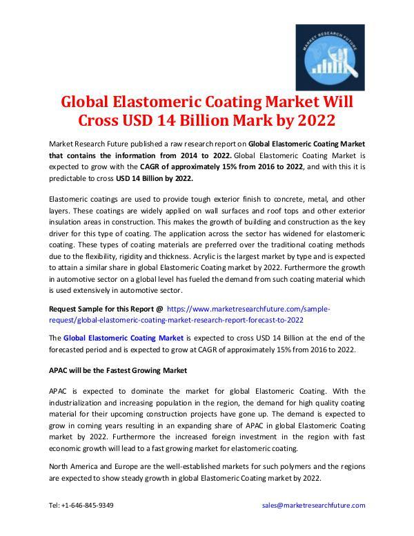 Global Elastomeric Coating Market Outlook-2022