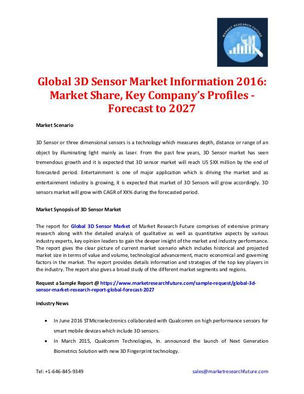 3D Sensor Market Information 2016-2027