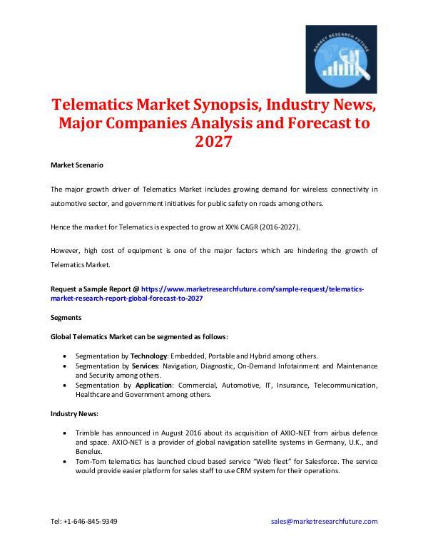 Telematics Market Synopsis & Forecast to 2027