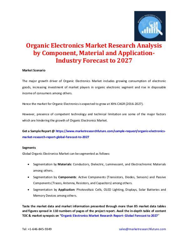 Organic Electronics Market Research Analysis 2027
