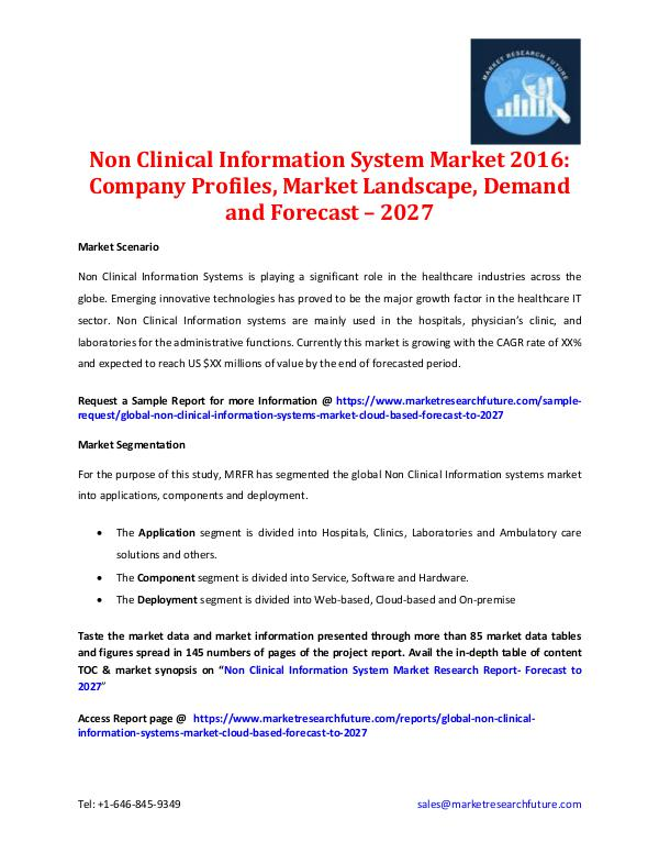 Non Clinical Information System Market - 2027