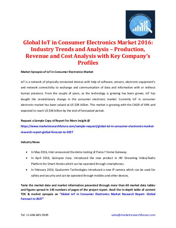 Global IoT in Consumer Electronics Market 2016
