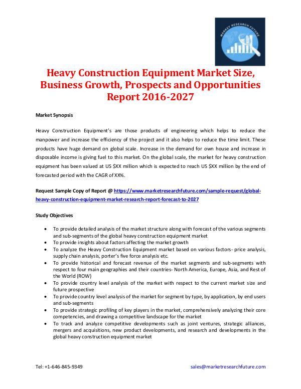 Heavy Construction Equipment Market Analysis 2027
