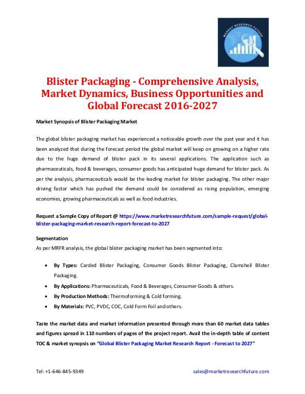 Blister Packaging Market - Forecast To 2027