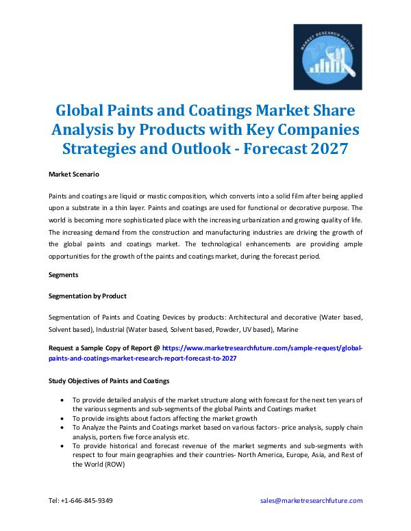 Global Paints and Coatings Market Share 2027