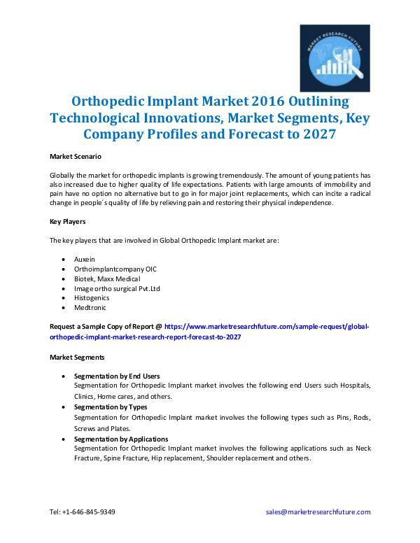 Global Orthopedic Implant Market Analysis 2027