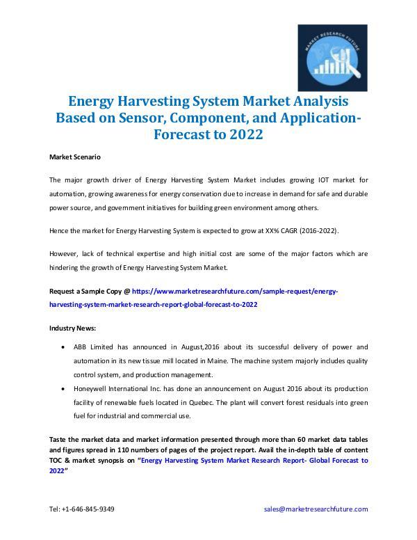 Energy Harvesting System Market- Forecast to 2022