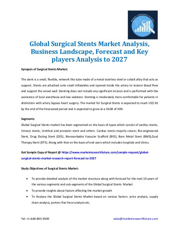 Global Surgical Stents Market Analysis 2027