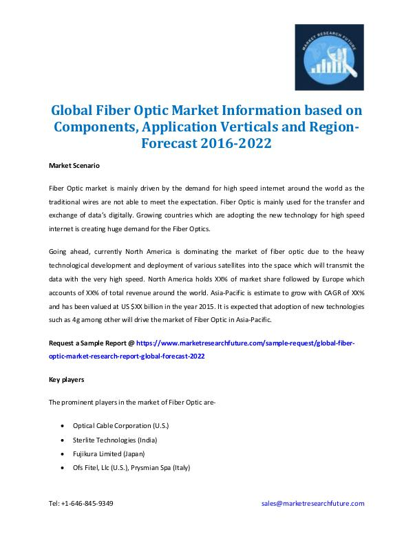 Global Fiber Optic Market Forecast 2016-2022