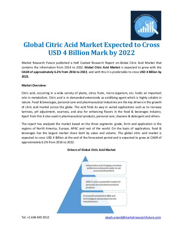Market Research Future - Premium Research Reports Global Citric Acid Market Overview 2022