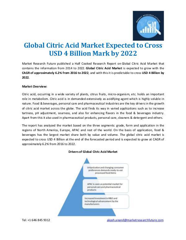Global Citric Acid Market Overview 2022