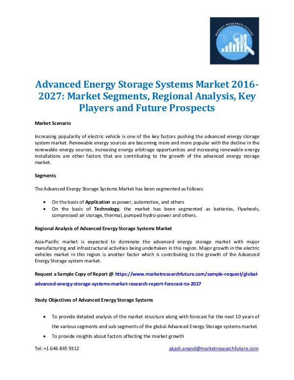 Advanced Energy Storage Systems Market 2016-2027