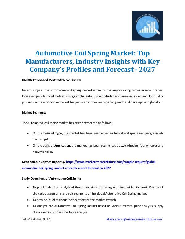 Automotive Coil Spring Market Forecast 2016 2027