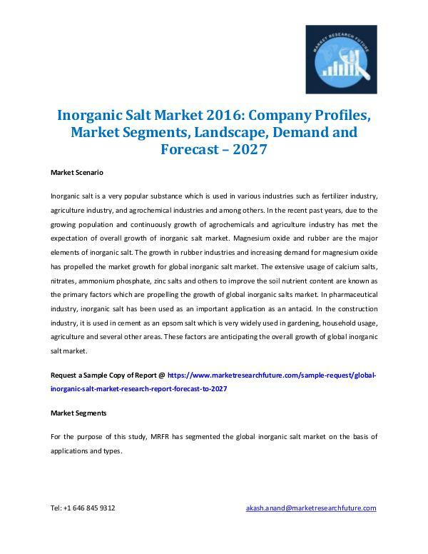 Inorganic Salt Market Share Analysis 2016-2027