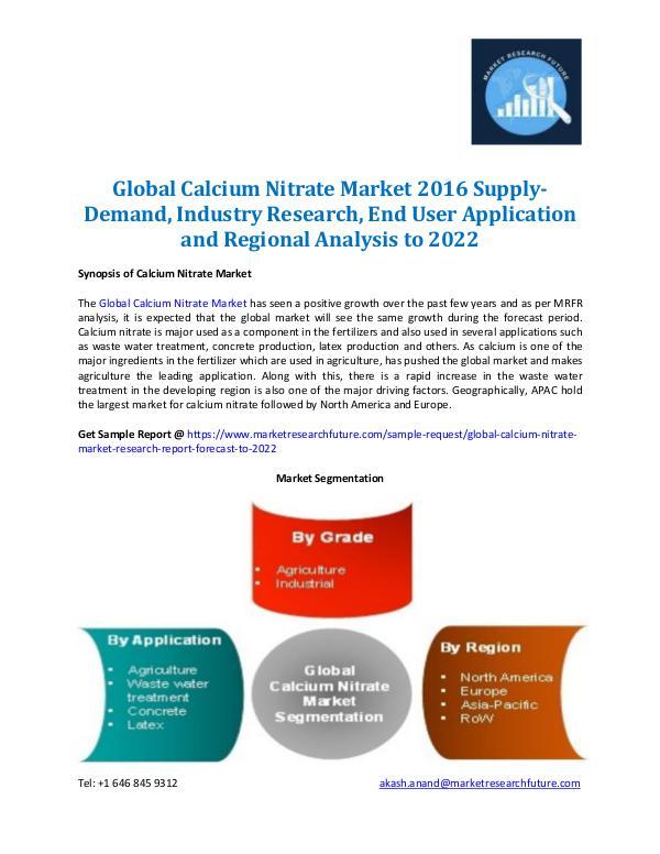 Calcium Nitrate Market Forecast to 2022