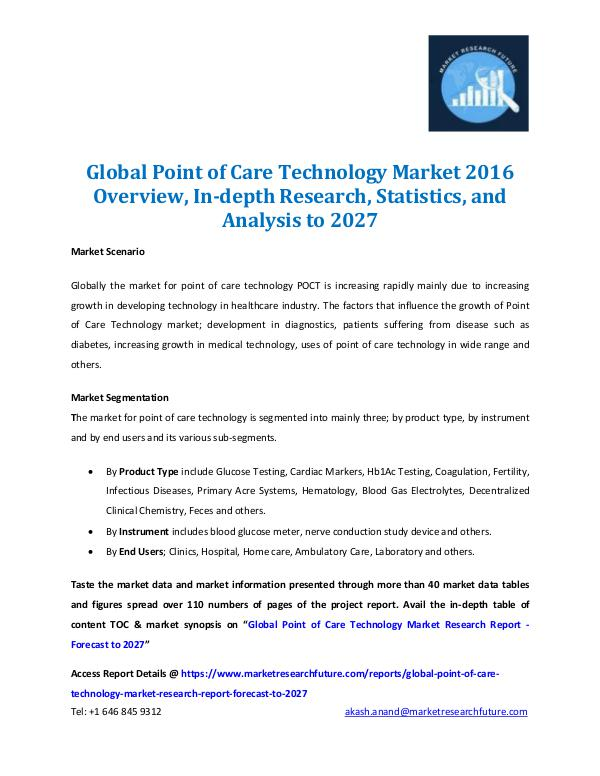 Point of Care Technology Market 2016-2027