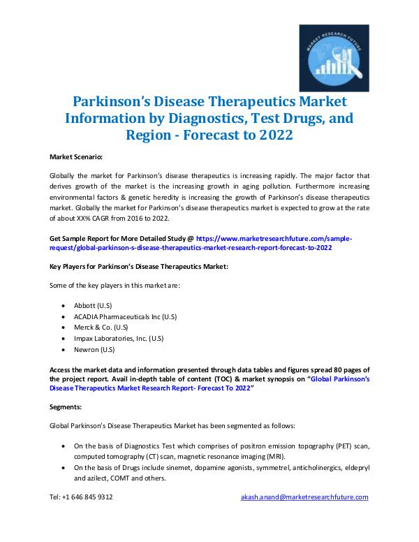 Parkinson's Disease Therapeutics Market 2016-2022