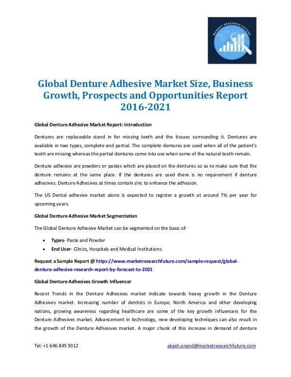 Denture Adhesive Market Analysis 2016-2021
