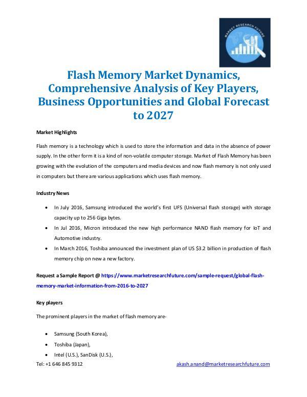 Flash Memory Market Outlook 2016-2027