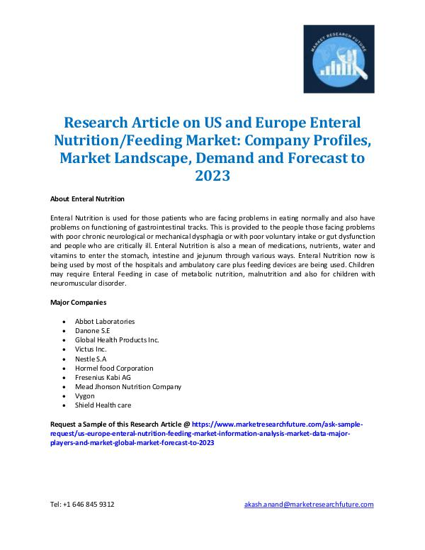 US & Europe Enteral Nutrition/Feeding Market- 2023