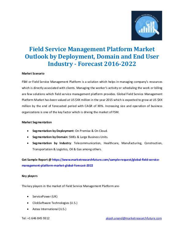 Field Service Management Platform Market 2016-2022