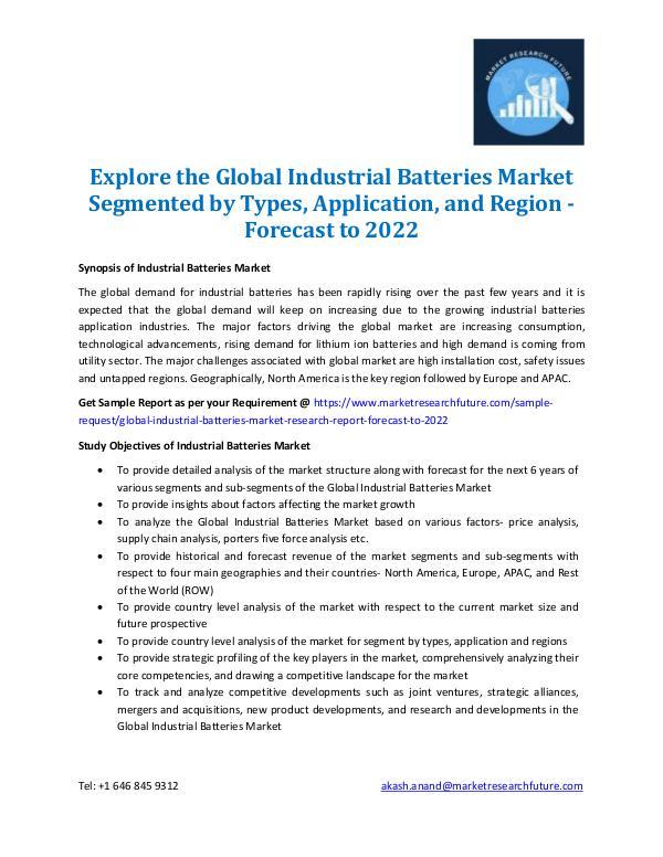 Industrial Batteries Market Information 2022