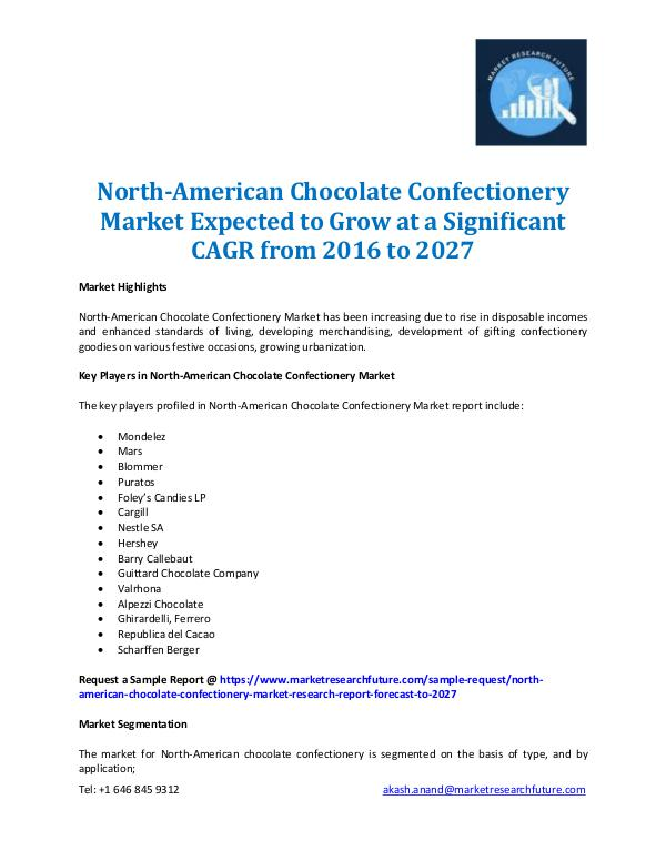 Market Research Future - Premium Research Reports North-American Chocolate Confectionery Market-2027