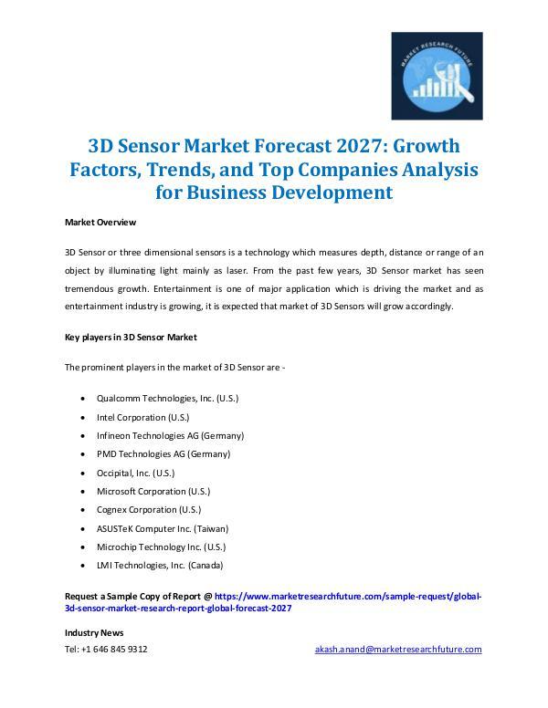 3D Sensor Market Outlook 2016-2022
