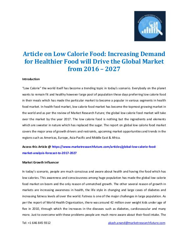 Article on Low Calorie Food 2016-2027