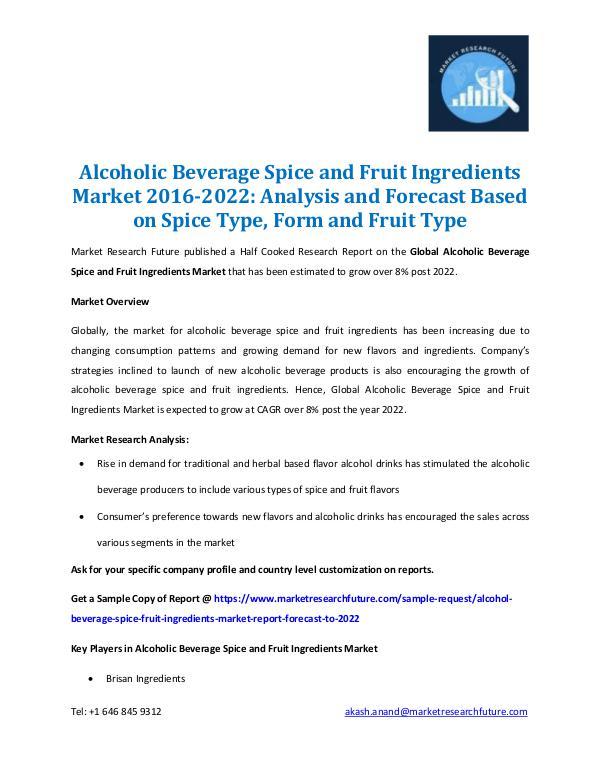 Alcohol Beverage Spice & Fruit Ingredients Market