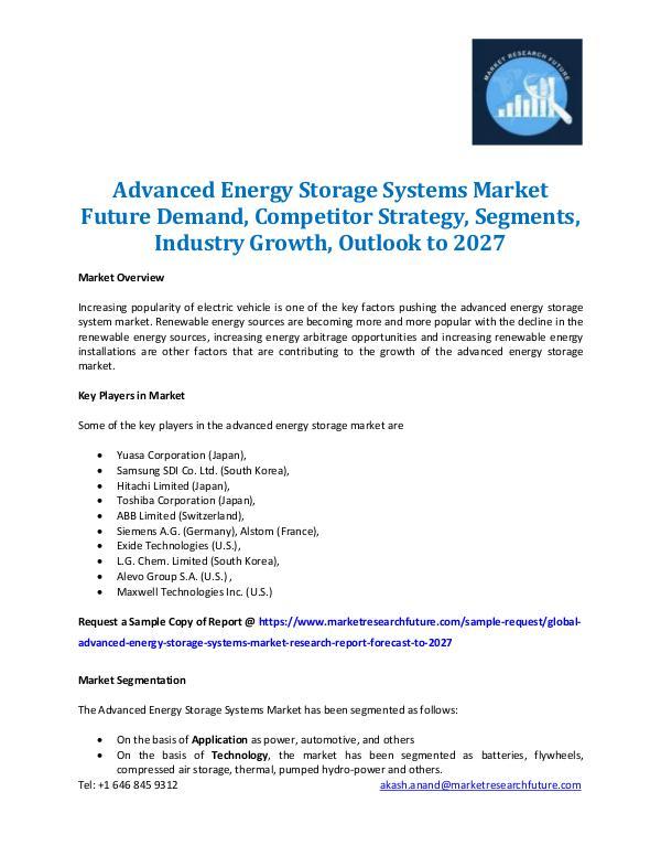 Advanced Energy Storage Systems Market 2027