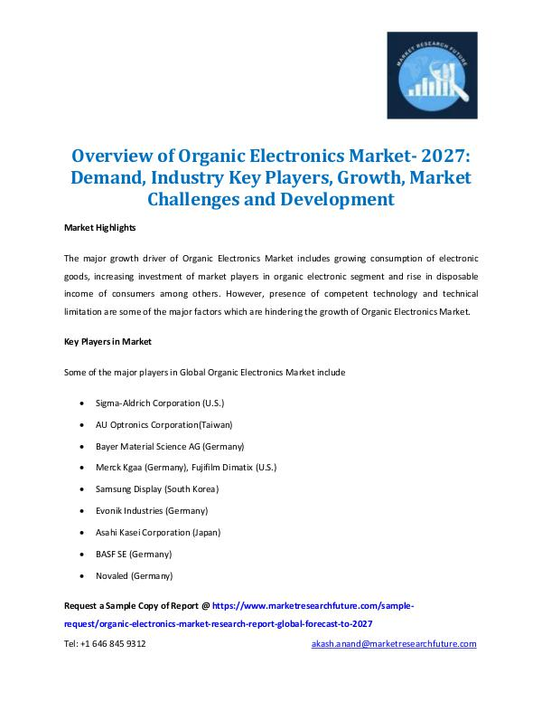 Organic Electronics Market Report 2027