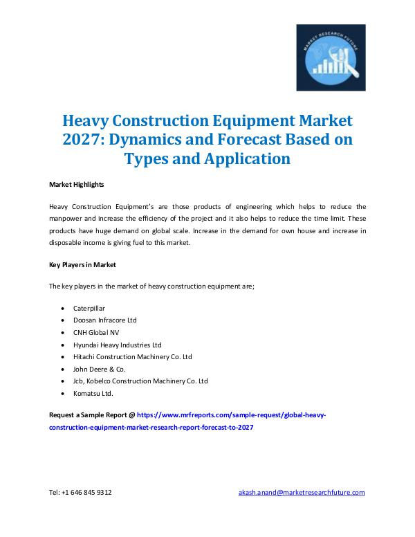 Heavy Construction Equipment Market 2027
