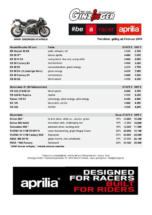 Aprilia Kataloge Aprilia Preisliste 2019