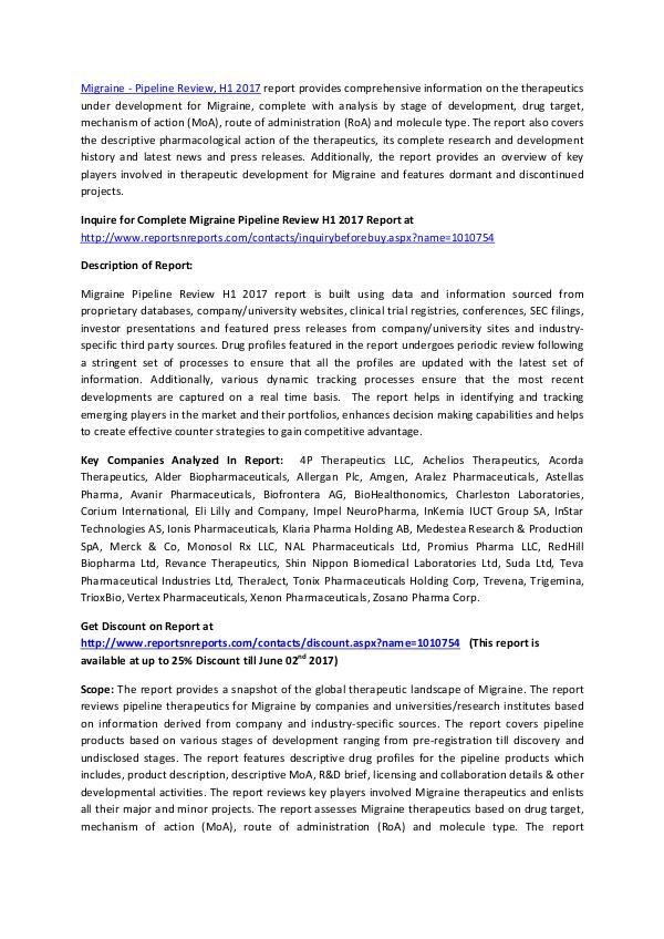 Migraine Drugs Pipeline Review 2017 Migraine - Pipeline Review, H1 2017