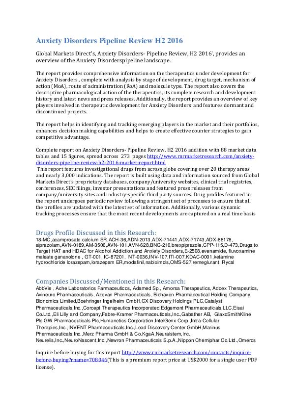 Therapeutics development for Anxiety Disorder Pipeline Review H2 2016 Anxiety Disorders - Pipeline Review, H2 2016
