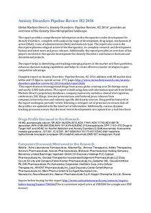 Therapeutics development for Anxiety Disorder Pipeline Review H2 2016
